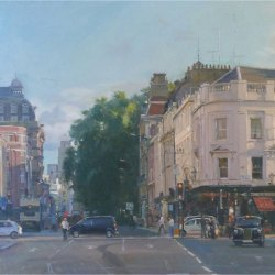 July-evening-Buckingham-Palace-Road