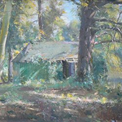 Old-Boathouse-by-the-Lake-Sandbeck-Oil-16-x-12