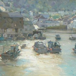 Afternoon-Light-Polperro-Harbour-Oil-20x24