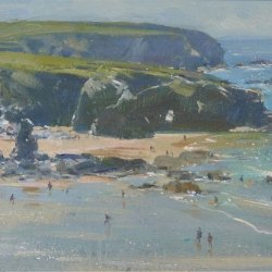 Bathers-Porthcthan-Beach-North-Cornwall