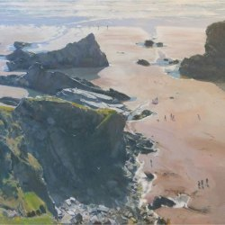 Bedruthan-Steps-bright-afternoon-at-low-tide