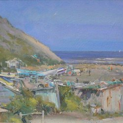 Fishermens-huts-Port-Mulgrave-Oil-8-x-12