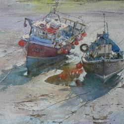 Moorings-in-the-Outer-Harbour-Watercolour