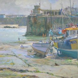 Receding-Tide-Newquay-Old-Harbour-Oil-16-x-12