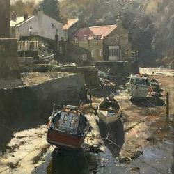 Winter-sun-in-the-beck-Staithes