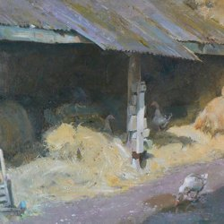 Haybarn-with-Geese-Oil-16-x-12