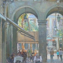 Cafe-Study-Barcelona-Oil-9-x-12