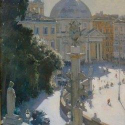 Piazza-del-Popoco-Rome-Oil-26-x-20