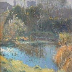 Pond-In-Winter-Oil-12-x-12